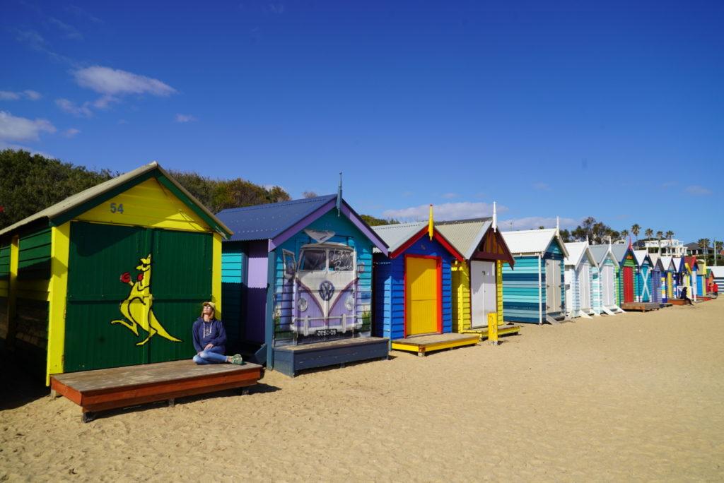 Cabine colorate sulla spiaggia di Brighton, Melbourne